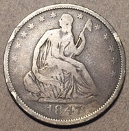 1847 O Seated Half Dollar, Grade= VG a few small rim dings