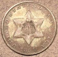 1851, F Three Cent Silver Piece, first year type