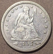 1853 arrows and rays Seated Quarter, Grade= XF cleaned