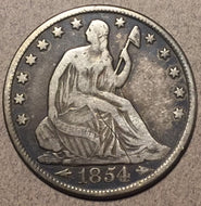 1854 O Seated Half Dollar, Grade= F