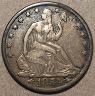 1854 O Seated Half Dollar, Grade= VF
