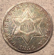 1854, AU Three Cent Silver Piece, no luster, toned
