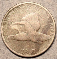 "1857 Flying Eagle Cent, Grade= VG, double ""AMERICA"" Snow-4. Exact coin imaged."