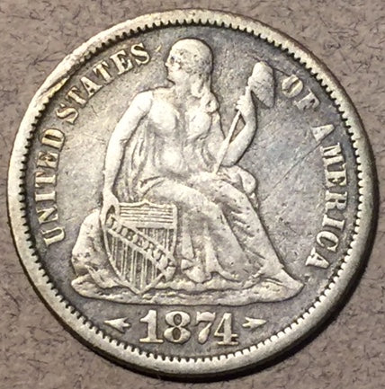 1874 Seated Dime, Grade= XF Arrows. Hit on edge creating a slight bend. Exact coin imaged.
