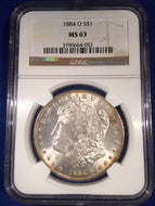1884 O Morgan Dollar, NGC slab MS63