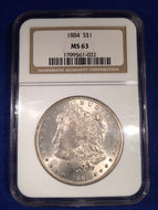 1884 Morgan Dollar, NGC slab MS63