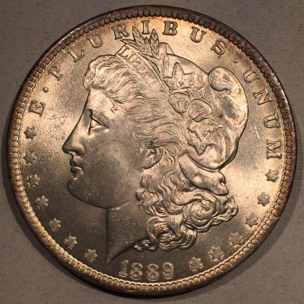 1889  Morgan Dollar, MS64, Superb overall appeal. interesting 4mm tone