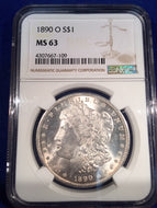 1890 O Morgan Dollar, NGC slab MS63