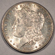 1890 S Morgan Dollar, AU58