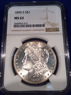 1890 S Morgan Dollar, NGC slab MS63