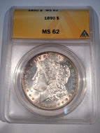 1890 Morgan Dollar, ANACS slab MS62