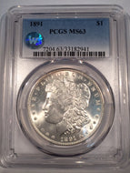 1891 Morgan Dollar, PCGS slab MS63