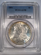 1891 Morgan Dollar, PCGS slab AU58