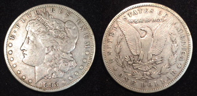 1893 CC  Morgan Dollar, VF