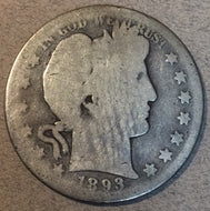 1893-S Barber Half Dollar, Grade= AG, better to the obverse