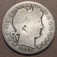 1893-S Barber Half Dollar, Grade=G/AG cleaned