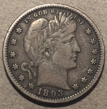 1893-S Barber Quarter, Grade= VF