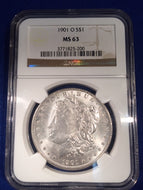 1901 O Morgan Dollar, NGC MS63
