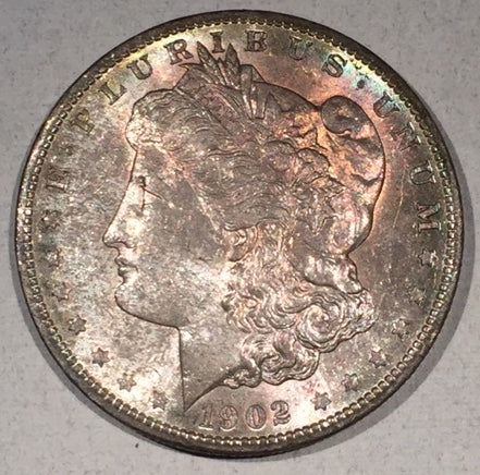 1902 O  Morgan Dollar, MS63, Wild purple speckled obv.