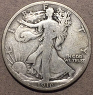 1916 Walking Half Dollar, Grade= VG10