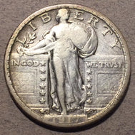 1917-D Type 2 Standing Quarter, F, tiny scratches in front of face