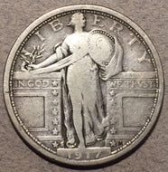 1917 S Type 1 Standing Quarter, F, lightly cleaned