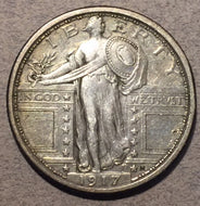 1917 Type 1 Standing Quarter, XF lightly cleaned