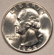 1945-D Washington Quarter, Grade= MS66