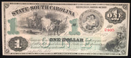 1872 Obsolete Currency $1 State of South Carolina revenue bond script. CU condition with beautiful color and caches.