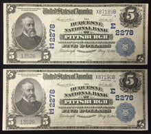 1902 US National Currency $5 The Duquesne National Bank of Pittsburgh, PA E2278