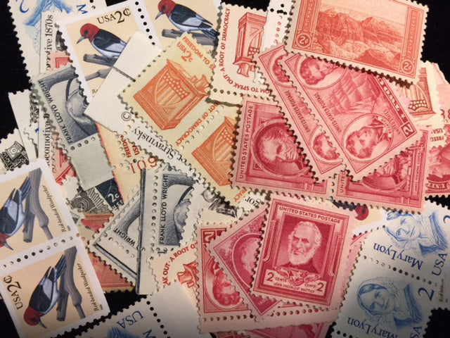 New US Postage Stamps at or below face value .02 Cent singles. 100 stamps