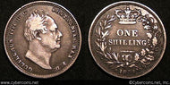 Great Britain, 1834, 1 shilling,  VF/XF, KM713