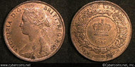 New Brunswick, 1861, Cent, KM6,XF/AU -