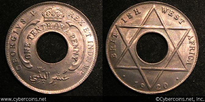 British West Africa, 1920H, 1/10 Penny,  UNC