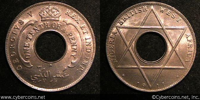 British West Africa, 1911H, 1/10 Penny, KM4,