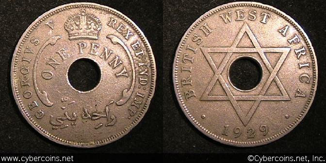 British West Africa, 1929, 1 Penny,  VF, KM9