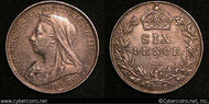 Great Britain, 1898, 6 Pence, KM779, AU -