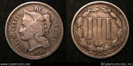 1865, F   Three Cent Nickel Piece