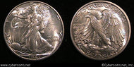 1941-S Walking Half Dollar, Grade= MS62