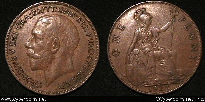 Great Britain, 1922, 1 penny, XF, KM810