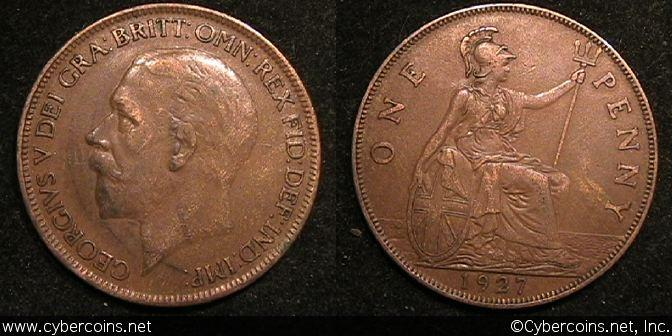 Great Britain, 1927, Penny, XF, KM826