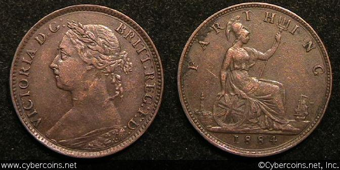 Great Britain, 1884, Farthing, KM753, XF/AU KM727
