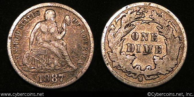 1887-S Seated Dime, Grade= XF