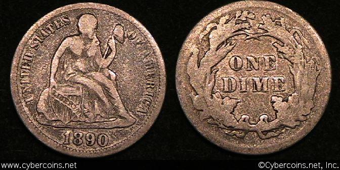 1890 Seated Dime, Grade= VF