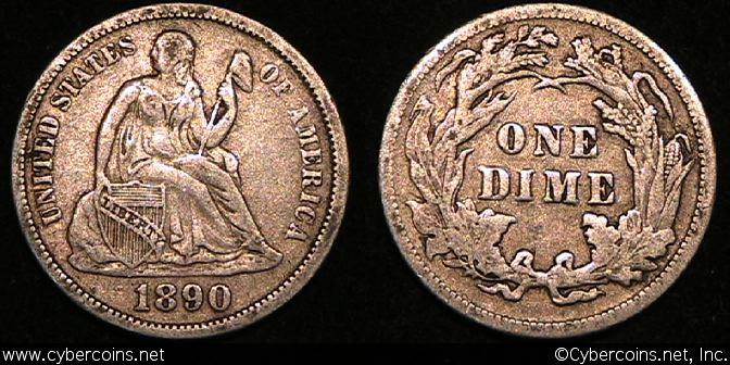 1890 Seated Dime, Grade= XF