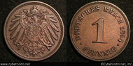 Germany, 1894A, 1 pfennig, AU, KM10  -