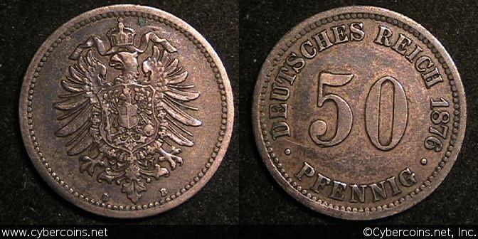 Germany, 1876B,  50 pfennig, VF/XF, KM6