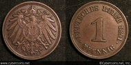 Germany, 1891D,  1 pfennig, VF/XF, KM10.