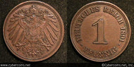 Germany, 1891D,  1 pfennig, VF/XF, KM10  -