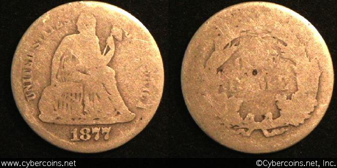 1877 Seated Dime, Grade= G/AG